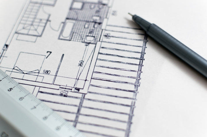 Architectural services delivering high quality new build house architecture blueprint with pen and ruler malvernweather Choice Image